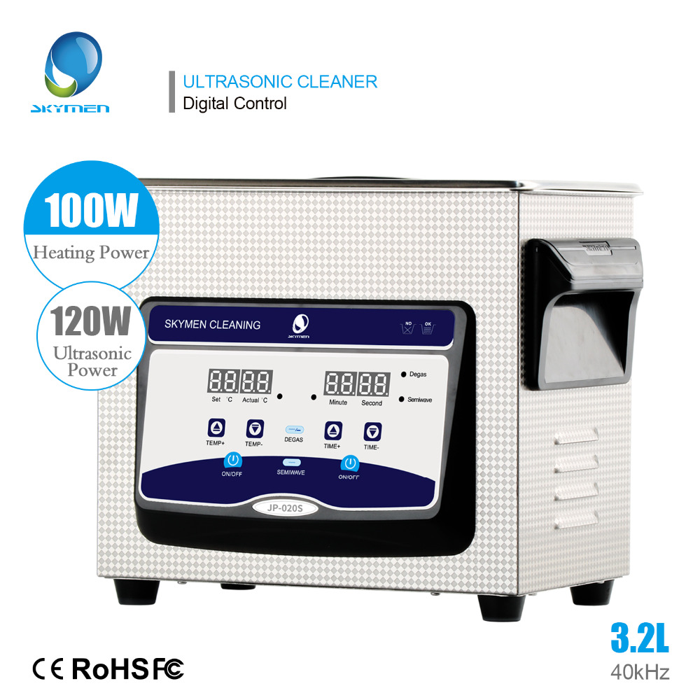 SKYMEN 3.2L Digital Ultrasonic Cleaner Degassing Timer Heating Stainless Sonic Machine Bath for Metal Parts PCB Cleaning Washer