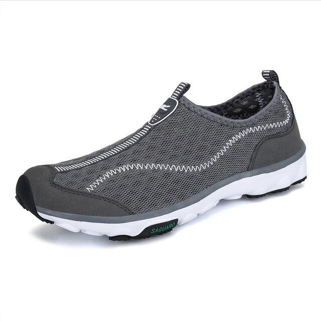 Туфли мужские быстросохнущие, дышащие сетчатые лоферы, сетчатые, без застежки, плоская подошва, для пляжа и отдыха на открытом воздухе, повседневные летние кроссовки для мужчин