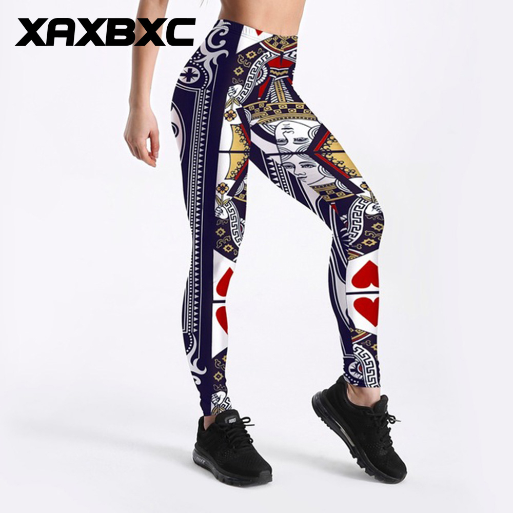 Woman Legging Poker /& Heart Printed elastic Legging S-4XL Slim Legging