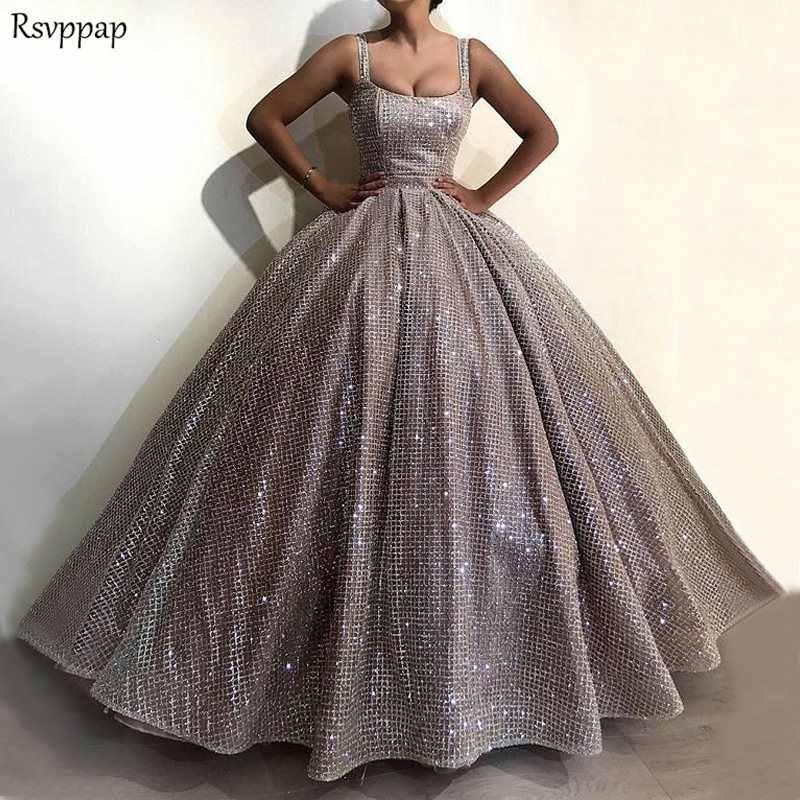 fcee191cdf9757c Длинные блестящие вечерние платья в арабском стиле блестящие пышные бальные  платья на бретельках Серебряные вечерние платья