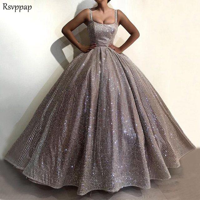 Long Glitter Arabic Style Evening Gowns Sparkly Puffy Ball Gown Spaghetti  Strap Silver Formal Evening Gowns abendkleider edfa1e3989da