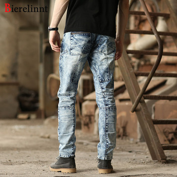 Bierelinnt Washed White Patch Cotton Hot Sale Denim Men Jeans,Ripped Hole Washed 2018 Fashion Straight Slim Fit Jeans Men,570271