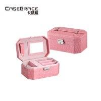 Regalo de san valentín Casegrace octogonal mujeres espejo de maquillaje caja de la joyería cajas organizadores de bloqueo pendiente de cajas de almacenamiento de madera 01107