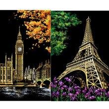 2pcs Children City Night Scraping Art Painting Paper Scratch Urban View Paris London Drawing Free Shipping