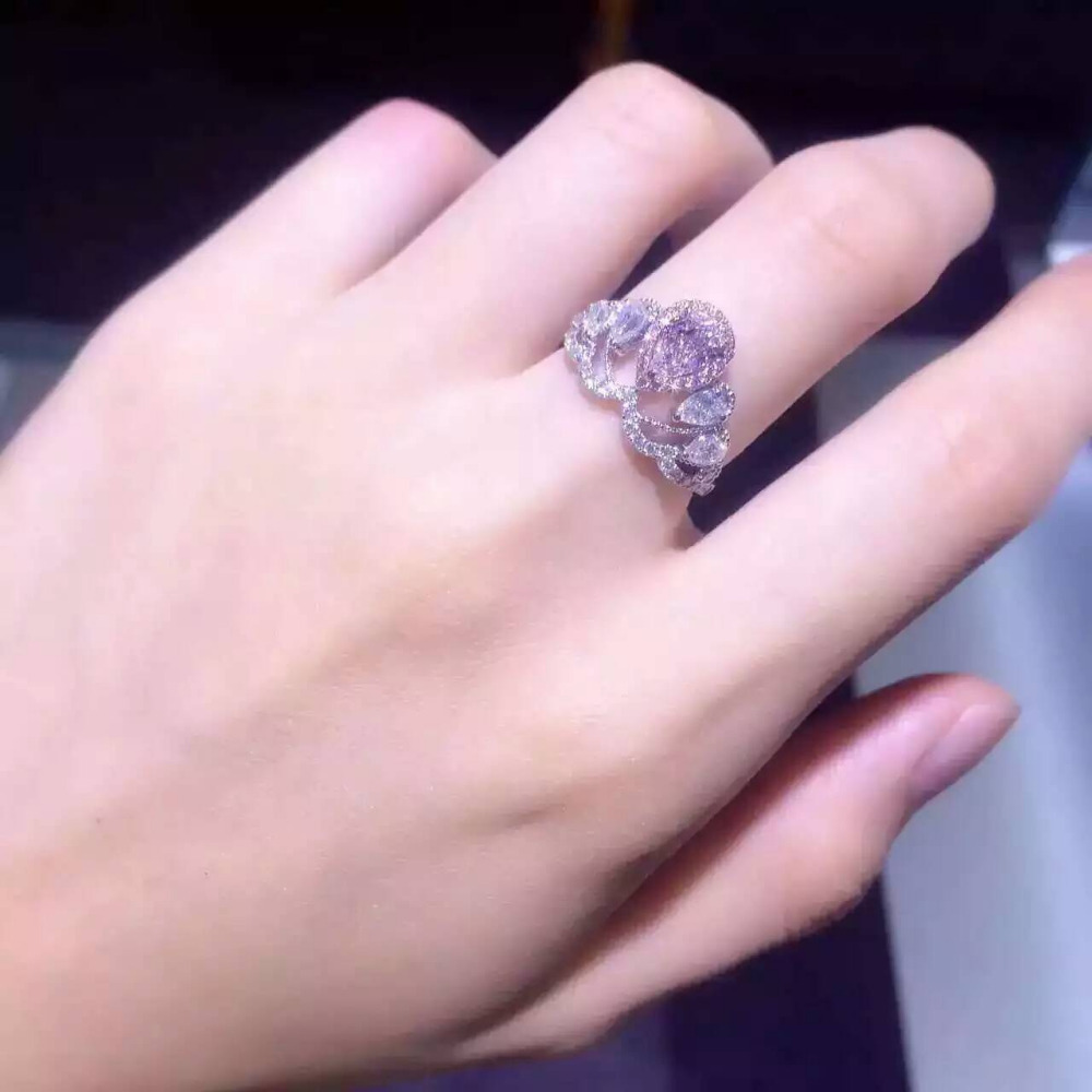 Pink Lady Center 1CT Simulate Pink Diamond Ring Halo 925 Sterling ...