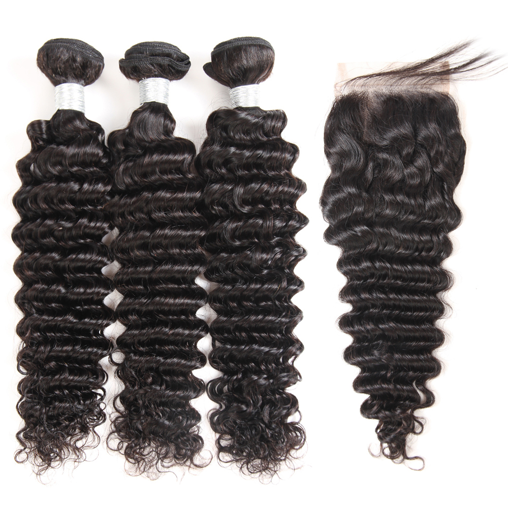 Superfect Brazilian Hair Weave Bundles 3 Pcs Deep Wave Bundles With Closure Remy Human Hair Bundles