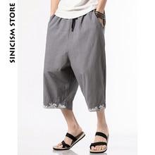 Sinicism магазин хлопок шаровары мужские летние повседневные брюки Дикие ноги Мешковатые Свободные брюки вышивка расклешенные брюки