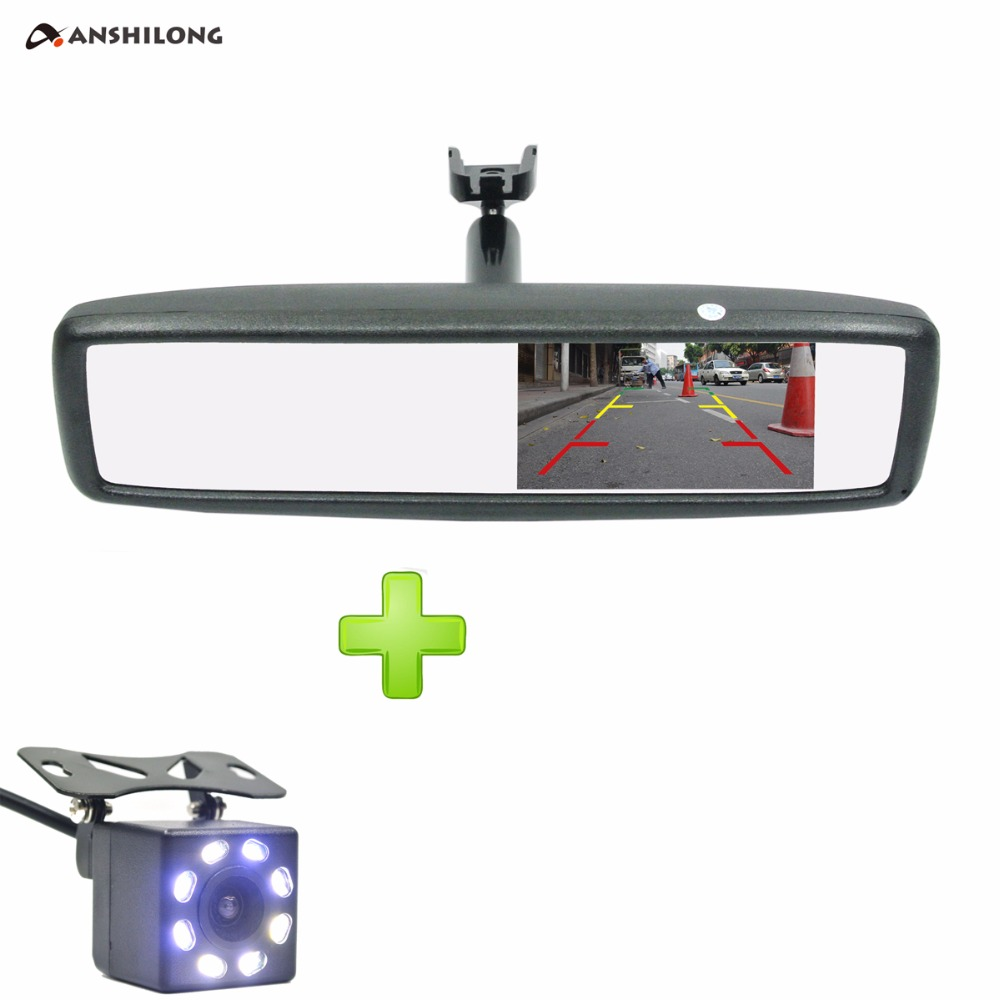 ANSHILONG 4.3 TFT-LCD Special Rear View Mirror Car Monitor with Bracket + CCD HD Night Vision Rear View Back Up Camera rally technology auto dimming rear view mirror with 4 3 inch 640 480 resolution tft lcd car monitor built in special bracket