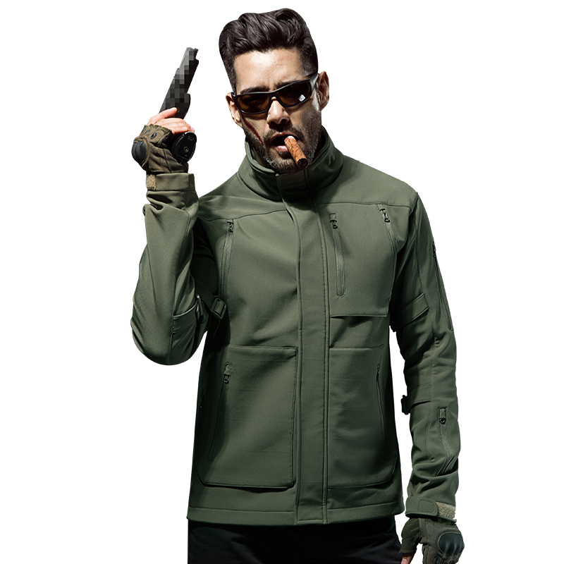 CQB Outdoor Softshell Jackets Men Water Repellent Slim Fit Hiking Fishing Hunting Clothes Lining Fleece Windbreaker  CYF1223