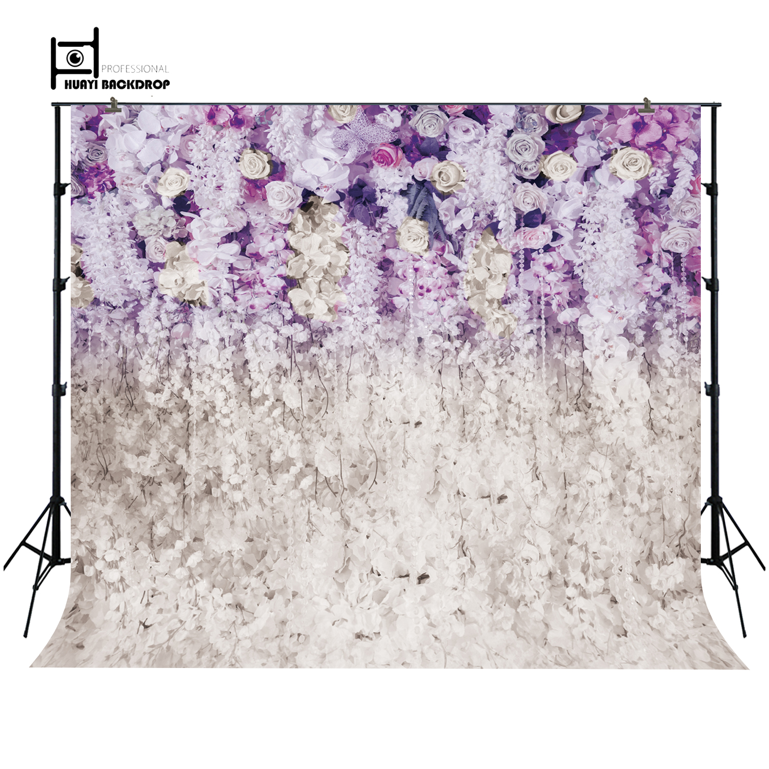 Wedding Backdrop Stage Photography Backdrop Invitation purple floral ...