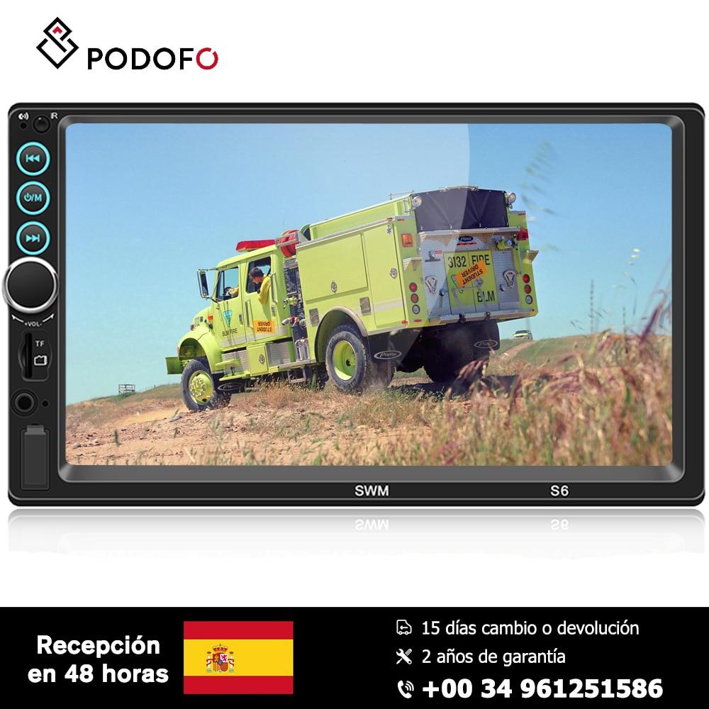 Podofo a mis à niveau 2 autoradio din 7 ''1024 P Ful HD IOS/Android double système miroir lien Bluetooth 4.0 USB MP3 GPS