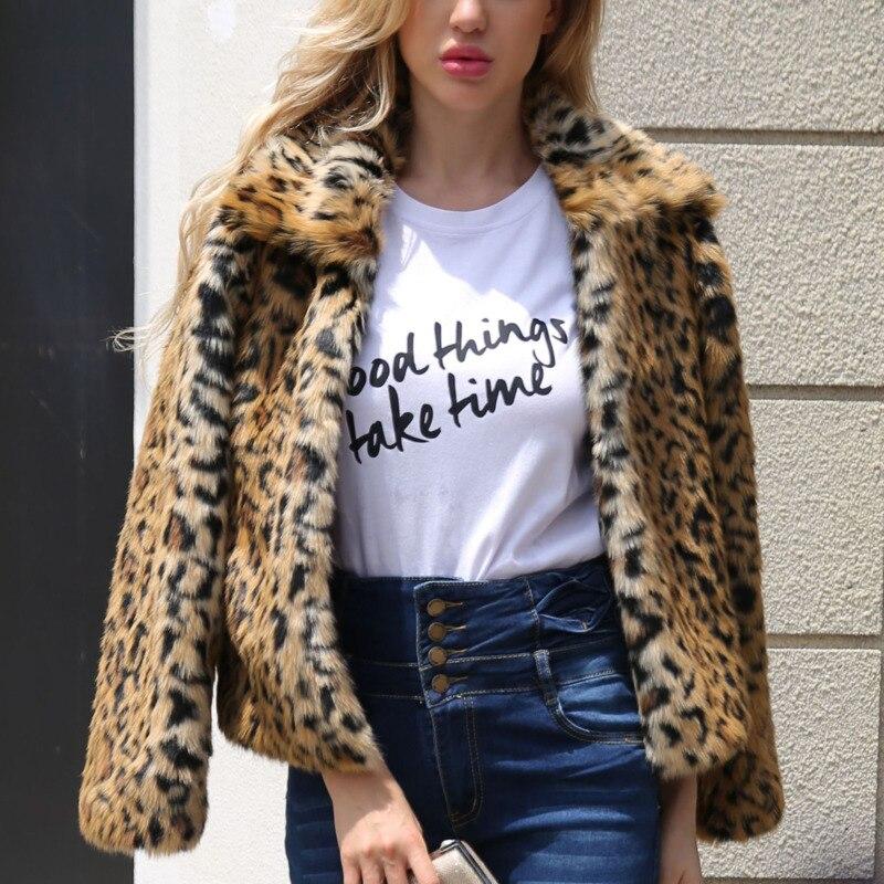 2019 Europese Vintage Faux Fur Revers Winter Jas Jaket Vrouwen Kleding Lange Mouw Bovenkleding Sexy Korte Luipaard Print Jas Qh173 Uitstekende Kwaliteit