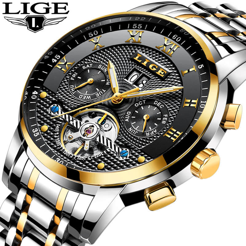 LIGE Men Watches Top Brand Luxury Automatic Watch Men's Full steel Wrist watch Man Fashion Casual Waterproof Clock reloj hombre mens watches top brand luxury mechanical watch men s waterproof military automatic wrist watch clock men hours 2017 reloj hombre