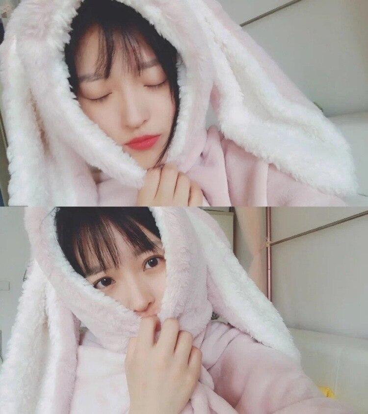 Cute Pink Comfy Blanket Sweatshirt Winter Warm Adults and Children Rabbit Ear Hooded Fleece Blanket Sleepwear Huge Bed Blankets 97