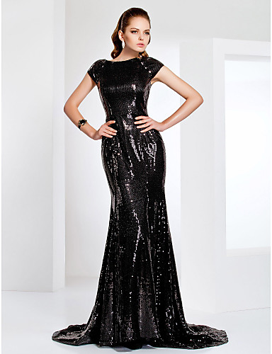 Robe De Soriee Sparkle Sequins Prom Dresses Black Tie Gala Dress Scoop Short Sleeves Long Evening Paty Gowns Vestido 15 Anos In From