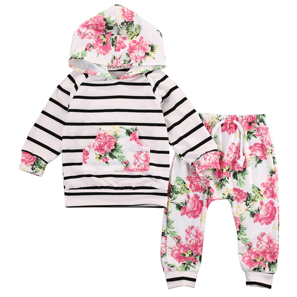 Baby Girls Floral Clothing Set Long Sleeve T-shirt+Pants Outfits 2PCS Hooded Clothes