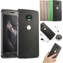 For Motorola MOTO G6 Plus G6+ Case Aluminum Metal Frame+Carbon Fiber Hard Back Cover for Phone Shell 5.93