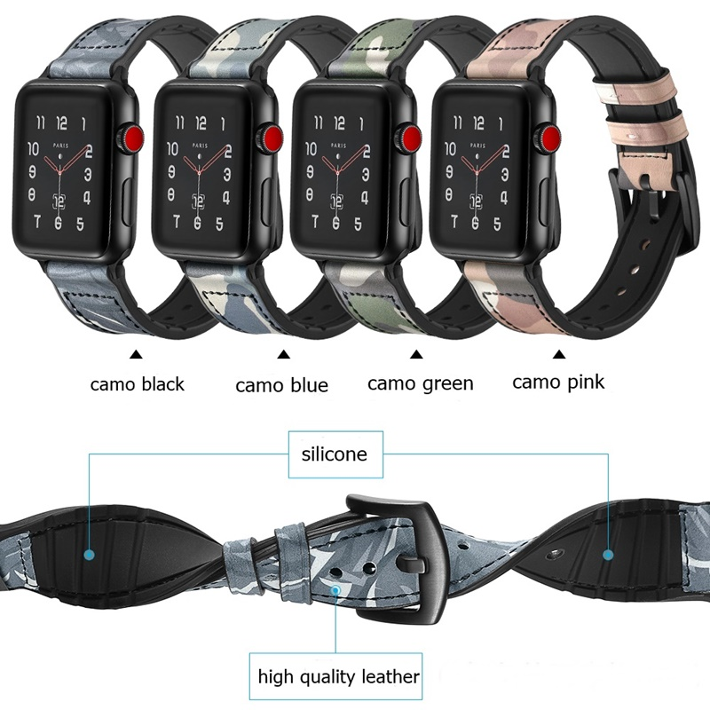 AOOW 38mm/42mm for Apple Watch Genuine Leather+Silicone Band Camo Printed Fashion Bracelet Strap Watchband for iwatch 1 2 3