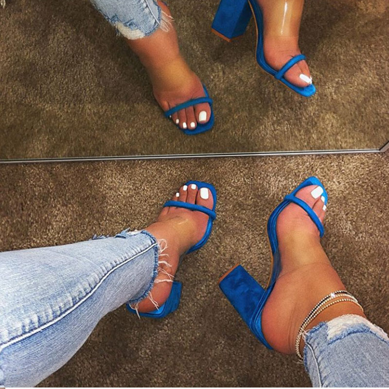 Image 3 - MCCKLE Women Transparent Sandals Ladies High Heel Slippers Candy Color Open Toes Thick Heel Fashion Female Slides Summer Shoes-in High Heels from Shoes