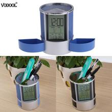 Vodool Mesh Pen Pencil Holder with Digital LCD Office Desk ALarm Clock Time Date Temp Christmas child gifts office supplies