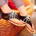 Новое прибытие 2017 Дамы моды большой size10 11 12 Lace-up cover каблуки квартиры сандалии женская обувь черный/белый школы девушки слайды