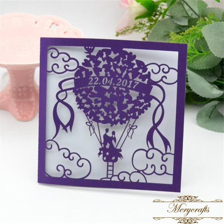 Dark Purple Wedding Invitations: Dark Purple Pearl Balloon Laser Cut Couple Wedding