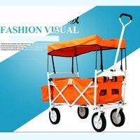 Мини Оксфорд дома корзина, Портативный Fold тележка прицеп, двойным тормозом багажную тележку