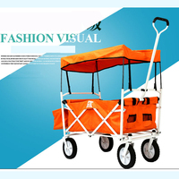 Mini Oxford home shopping cart, portable fold trolley trailer, double brake luggage cart
