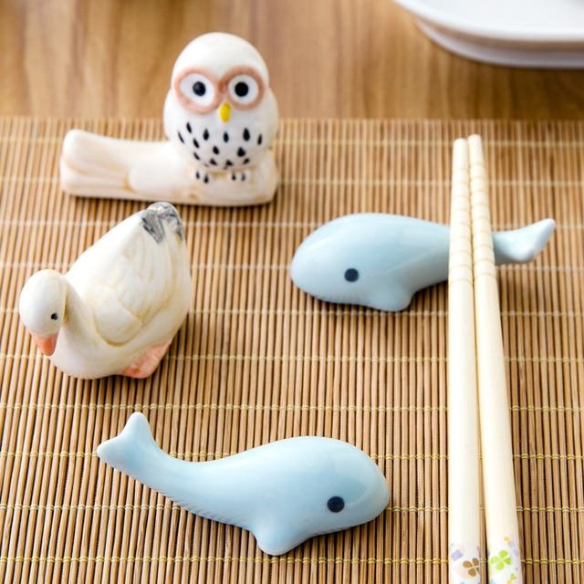 1 set Zakka Cute  ceramic  Chopstick Stand Rest spoon holder Chop stick holder home decor kitchen organizer 2