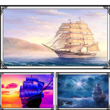 Crafts Diamond embroidery sailboat Diy diamond painting square drill mosaic pasted full canvas cross stitch Needlework