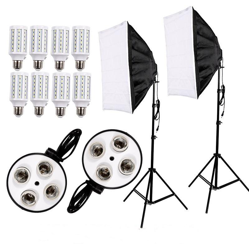 Photographie 8 pièces E27 ampoule LED Kit de lumière équipement Photo vidéo + 2 pièces Softbox boîte à lumière tente + support de lumière pour diffuseur de Studio