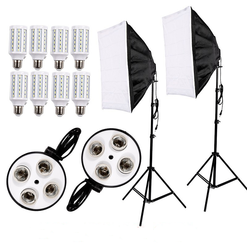 Photography 8PCS E27 LED Bulbs Light Kit Photo Video Equipment+ 2PCS Softbox Light Box Tent+Light Stand for Studio Diffuser 2pcs godox sl100y 3300k video continuous light 60x90cm softbox light stand photo studio equipment kit yellow version