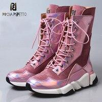 Prova Perfetto 2019 платформа плоская повседневная обувь женские короткие сапоги розовые замшевые Лоскутные зеркальные кожаные кроссовки сапоги б