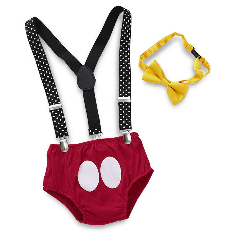 New Born Set Pants Straps Red Shorts Yellow Bow Tie 3Pcs Kids Costume Birthday Gifts Summer Infant Toddler Baby Boy Girl Outfit in Clothing Sets from Mother Kids