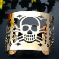 Punk Style Cuff Bangles Gold Plated Geometry Hollow Skull Opening Metals Bracelet Clothes Jewelry Costume Jewelry