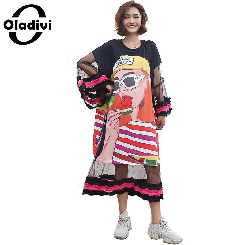 Oladivi Plus Size Women Fashion Print Mesh Dress Ladies Casual Loose Long Top Tees Shirt Dresses Female Tunic Vestidos Femininos