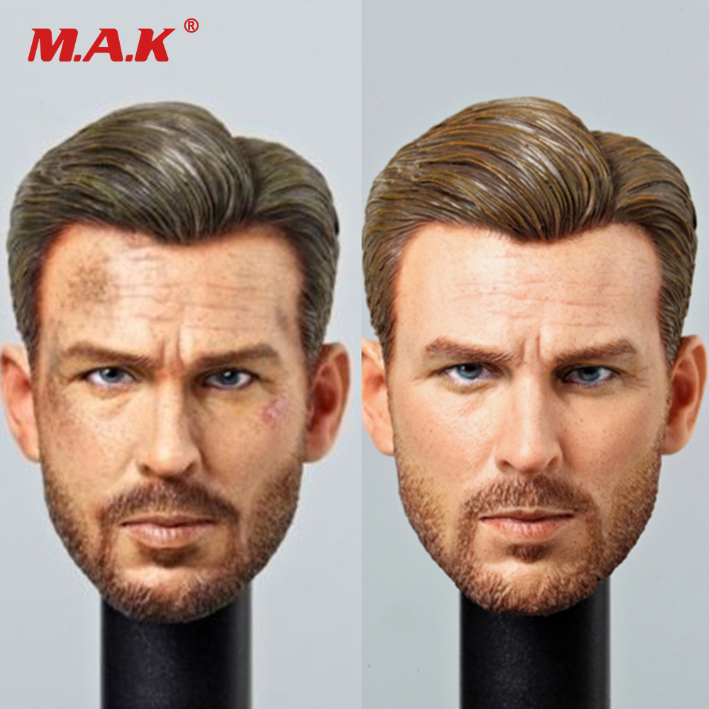 1:6 Scale European Male Figure Head Sculpt Steve Rogers Wound Ver. and Normal Version 1/6th Captain America Head Carving richard rogers gumuchdjian architects