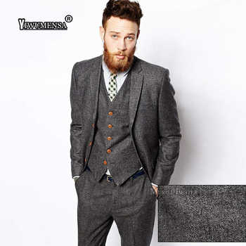yiwumensa New Latest Coat Pant Designs Mens Suits Tweed Herringbone Wedding Suits For Men Tuxedo Suits Grey/Brown Suit men 2017 - DISCOUNT ITEM  45% OFF All Category