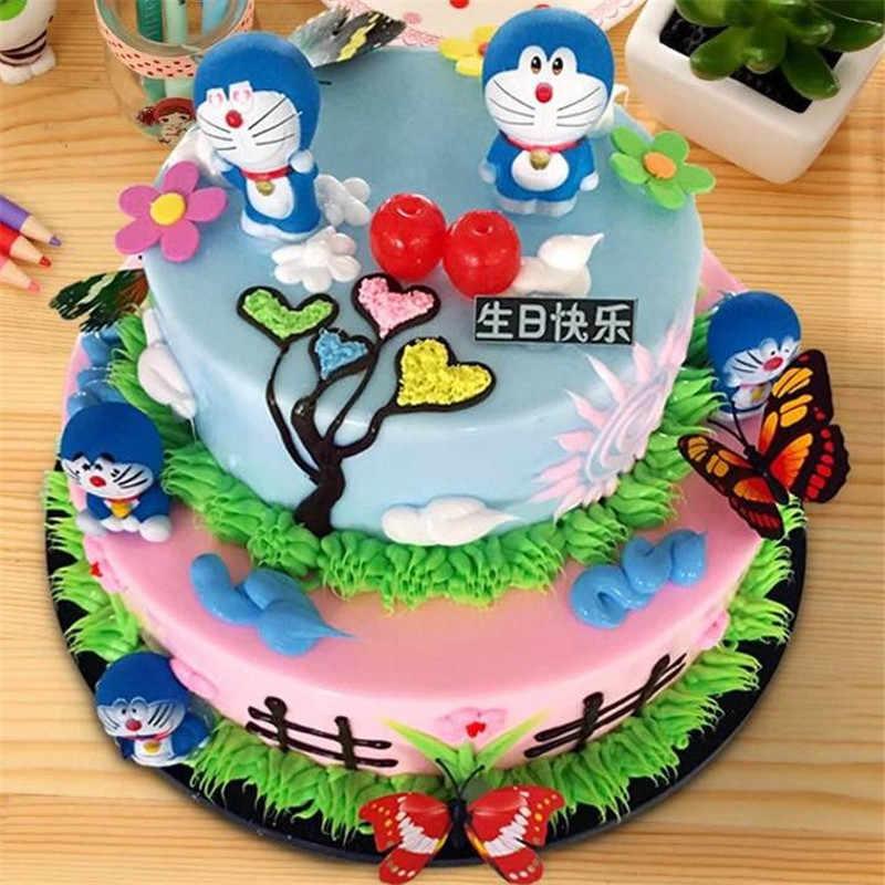 Cupcake Dekorasi Doraemon Puncak Pertama Hadiah Ulang Tahun Bayi Anak Anak Anak Perlengkapan Pesta Cat Birthday Cake Topper Kue Mainan Aliexpress