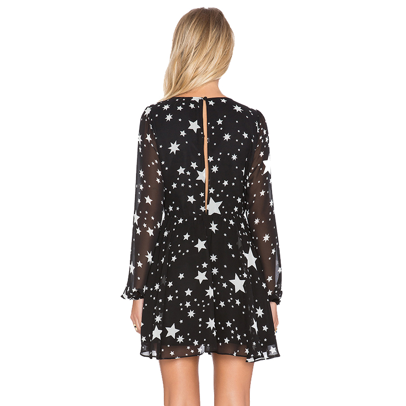HDY Haoduoyi Solid Black Stars Printed Women Dress Long Sleeve V neck Sheer Mini Dress Fashion Sexy Party Club Casual Dress in Dresses from Women 39 s Clothing
