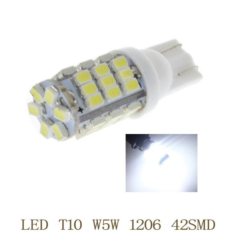 10x T10 W5W LED Car Bulb 12V 380LM 42 /68 SMD 6500K White Parking Fog Light Auto Headlamp Lamp Car Wedge Turn Signal Headlight