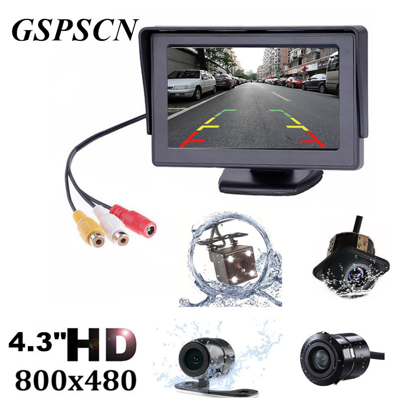 GSPSCN 2 in1 TFT 4.3 Inch Auto TFT LCD Rearview Parking Color Monitor + LED Night Vision CCD Rear View Camera With Car Monitors car hd video auto parking monitor led night vision reversing ccd car rear view camera with 4 3 inch car rearview mirror monitor