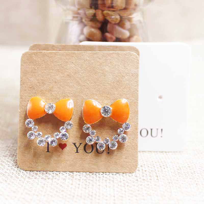 1000pcs 3*3cm custom logo made white stud earring tag card 300gsm thickness cardboard personalized jewelry earring packing card