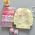 (LL76)Girls Clothing 2016 New 100% Cotton Kids Lovely Fashion Baby Flowers Long Sleeve pullover Infant Tops 4Pcs/Lot