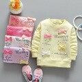 (Ll76) meninas clothing 2016 novo 100% algodão crianças lovely fashion flores pulôver de manga longa infantil do bebê encabeça 4 pçs/lote