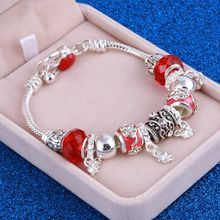Fashion Jewelry Natural stone Murano Glass Charms Bracelets & Bangles Leaves beads fits Pan Silver bracelet For Women jewelry(China)