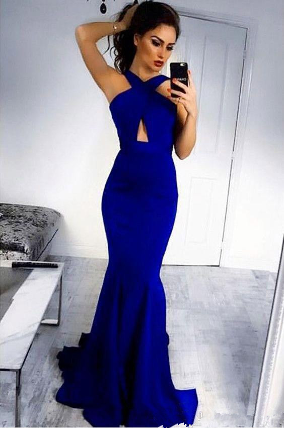 Blue Robe De Soiree 2019 Mermaid Backless Sexy Long   Prom     Dresses     Prom   Gown Evening   Dresses