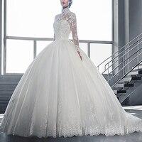 Balo Gelinlik WDB-003 Uzun Kollu Kat Uzunluğu Beyaz/Fildişi Dantel Gelin Elbiseler Sonbahar Kış Vestidos De Noiva
