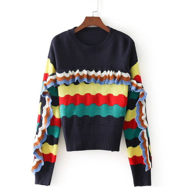 5f66169f7d Women Color Stripe Knitting Sweater 2018 Autumn Fashion Lace Decoration  Loose Stitching Street Hipster Straight Sweater