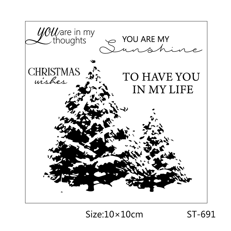 Pine Tree Clear Rubber Stamps Christmas Wishes Transparent Silicone for DIY scrapbooking photo album Decor